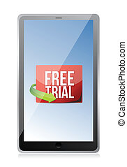 tablet free trial message illustration design over white