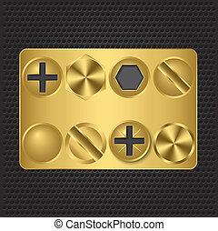 Set of golden screws, illustration