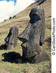 Easter island - Old stone sculpture in famous Easter island