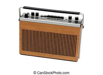 Retro, portátil, transistor, radio, 60s, 70s