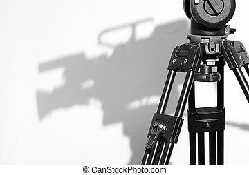 Tripod and Camera shadow - Professional Video Tripod with...