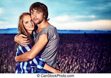 girl and boyfriend - Romantic young couple in casual clothes...