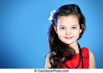 pretty child - Portrait of a cute little girl in a beautiful...