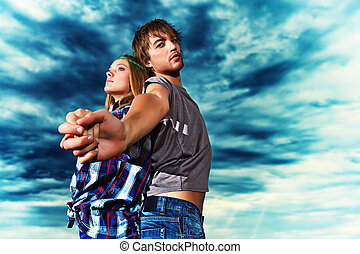 romantic couple - Romantic young couple in casual clothes...