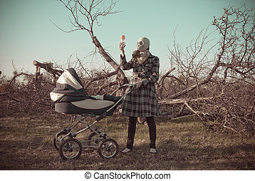 Mother in gas mask and buggy - Mother in gas mask and baby...