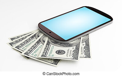 Mobile payment - Dollars under mobile phone on white...