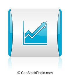 histogram blue and white square web glossy icon