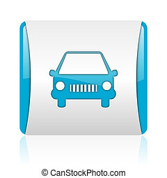 car blue and white square web glossy icon