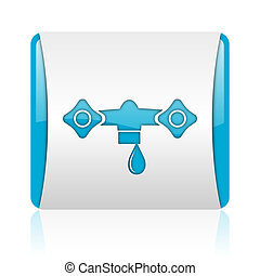 water blue and white square web glossy icon
