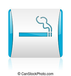 smoking blue and white square web glossy icon