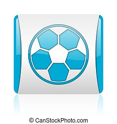 soccer blue and white square web glossy icon