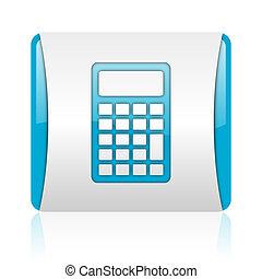 calculator blue and white square web glossy icon