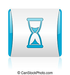 time blue and white square web glossy icon