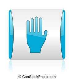 stop blue and white square web glossy icon