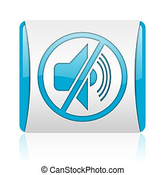 mute blue and white square web glossy icon
