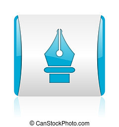 pen blue and white square web glossy icon
