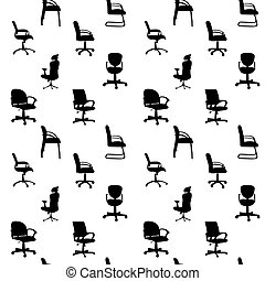 Seamless pattern of Office chairs silhouettes vector illustration
