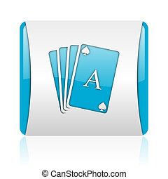 playing cards blue and white square web glossy icon