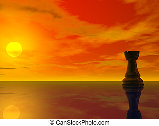 rook - black chess rook on sun rising background - 3d...