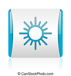 sun blue and white square web glossy icon