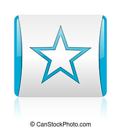 star blue and white square web glossy icon