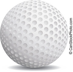 Realistic golf ball on a white background.