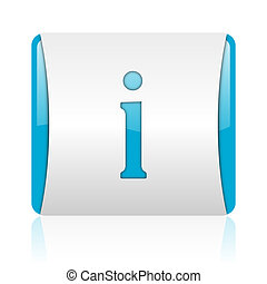 information blue and white square web glossy icon