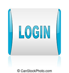 login blue and white square web glossy icon