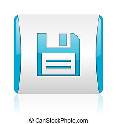 disk blue and white square web glossy icon