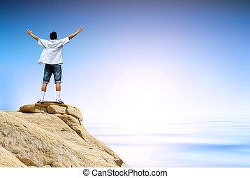 vencedor, homem, montanha, topo