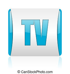 tv blue and white square web glossy icon