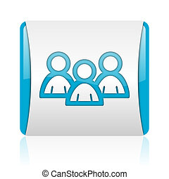 forum blue and white square web glossy icon