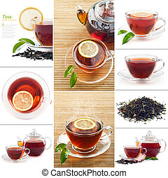 Hot black tea - Set photo Hot black tea with lemon and...