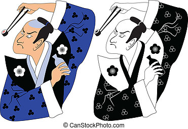 Sushi samurai - Black and white and colored versions of a...