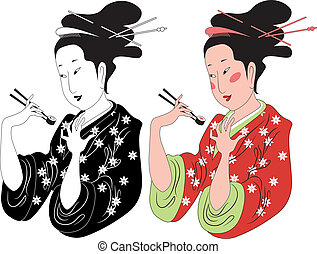 Japanese lady enjoying sushi - Black and white and colored...
