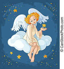 Angel. Christian Christmas theme - Cute angel girl with...