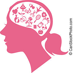 Female mind - Female profile filled with assorted symbols of...