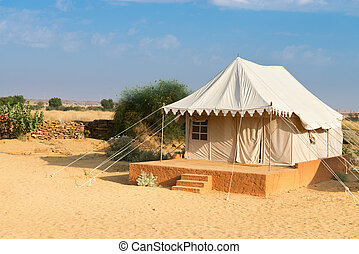 Tent camping site hotel in a desert - Tent in camping site...
