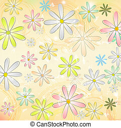 vintage background with multicolored daisy flowers and...