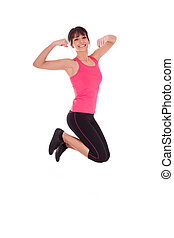 Weight loss fitness woman jumping of joy
