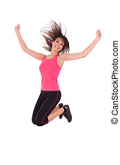 Weight loss fitness woman jumping of joy,isolated on white...