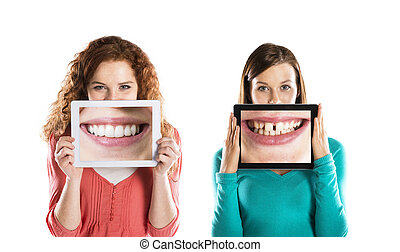 Funny portraits - Funny studio portraits with tablet on...