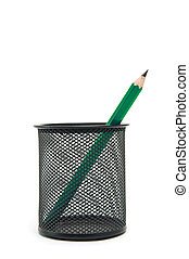 Pencil - Green pencil in a black pen holder