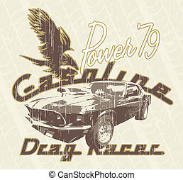 classic car mustang 79 - illustration for shirt printed and...