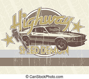 classic car speedemon - illustration for shirt printed and...