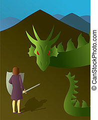 Woman Slaying the Dragon - An illustration of the common...