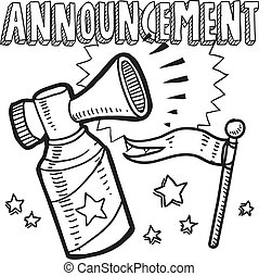 Announcement sketch - Doodle style announcement icon in...