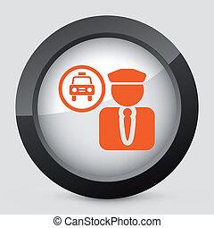 vector, naranja, gris, aislado, icono