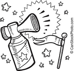 Air horn and pennant announcement - Doodle style...