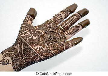 Henna Tattoo on Hands - An isolated shot of Henna Tattoo on...
